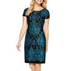 Studio 1® Cap-Sleeve Print Scuba Sheath Dress  found at @JCPenney