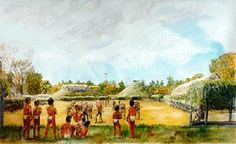 The 17th century Quapaw village of Osotouy, by Kugee Supernaw. Courtesy of the artist.