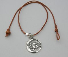 Genuine Leather CHOKER Pewter  Moon And Sun Charm Choker