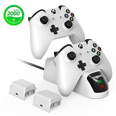 Xbox One / Xbox One S / Xbox One Elite / Xbox One X Controller Charger, Vogek Dual Slot Controller Charging Station with 2 Pack 2000mAh Rechargeable Batteries and a Micro USB Charging Cable.