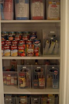 I organized our pantry using these multi-purpose bins, stay fresh containers, and expandable can shelf.