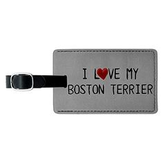 I Love My Boston Terrier Written on Paper Leather Luggage ID Tag Suitcase ** Check this awesome product by going to the link at the image.