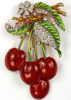 Trifari 'Alfred Philippe' Pave and Enamel Cherries Pin Clip