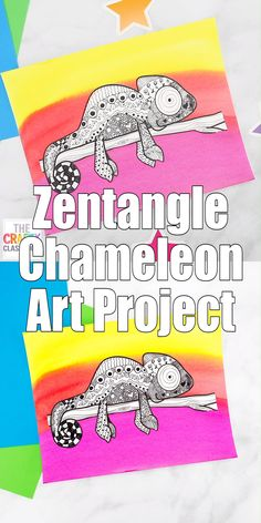 Zentangle Chameleon Art Project for Kids - This colorful Chameleon Art Project is great for children of all ages. Zentangle is like doodling - Art Lessons For Kids, Art Lessons Elementary, Art For Kids, Drawing For Children, Art Children, Animal Art Projects, Cool Art Projects, Children Art Projects, African Art Projects