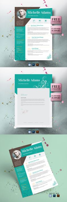 Resume Template and FREE Cover Letter, Resume Word, Photo Resume, Teacher Resume, Professional Resume, Creative Resume, Picture Resume