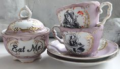 Alice in Wonderland Green and Pink Gold Tea Set, Lewis Caroll Coffee Set, Alice Tea Party, P Outside Tiles, Alice Tea Party, Teapots And Cups, Teacups, Pink Cups, Tile Murals, Vintage Plates, Coffee Set, Cup And Saucer Set