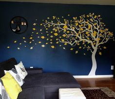 These tree and leaves wall decals from @popdecors are a fantastic way to accent the nursery, but not as permanent as a mural. Love it!