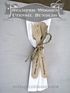 Stamped, Wooden Flatware Bundles..... great for cookouts, parties, weddings, etc.
