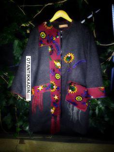 Otantik Antrasit Kaban - 171216 | Otantik Kadın, Otantik Giysiler, Elbiseler,Bohem giyim, Etnik Giysiler, Kıyafetler, Pançolar, kışlık Şalvarlar, Şalvarlar,Etekler, Çantalar,şapka,Takılar