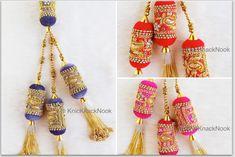 Velvet Fabric Bolster Tassels In Antique Gold Zardozi Embroidery, Rhinestones & Pearls, Wedding Lehenga, Dress Blouses, Indian Embellishment Zardozi Embroidery, Bead Embroidery Patterns, Floral Embroidery, Embroidery Designs, Embroidery Fabric, Etsy Fabric, Silk Fabric, Indiana, Rakhi Design