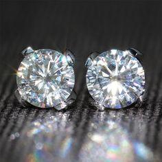 Queen Brilliance Genuine18K 750 White Gold Push Back 1.6 Carat ct F Color Test  Positive Moissanite Diamond Earrings For Women