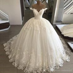 Luxury Puffy Wedding Dresses Lace Applique White Ball Gown Bridal Gown Ivory Corset Bride Dress on Storenvy Ball gown wedding dresses 2020 Puffy Wedding Dresses, Wedding Dress Backs, Off Shoulder Wedding Dress, White Bridal Dresses, White Ball Gowns, Lace Ball Gowns, Applique Wedding Dress, Ball Gown Dresses, Tulle Wedding