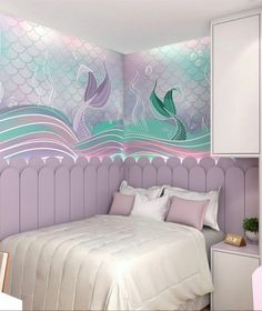 Ignite Your Girls' Imagination with 5 Mermaid Decor for Bedroom Ideas - From whimsical duvet, lanterns, wall, to the projector, create this magical mermaid decor for bedroom and let your girls enjoy what it feels like to be the sea fairy. Bedroom Images, Bedroom Themes, Girls Bedroom, Bedroom Decor, Bedroom Ideas, Bedrooms, Little Mermaid Bedroom, Mermaid Room Decor, Deco Jungle