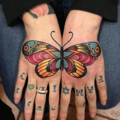 American #Traditional Split Hand #Butterfly #Tattoo
