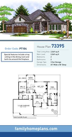 European House Plan 73395   Total Living Area: 2,049 SQ FT, 2 bedrooms and 2 bathrooms. Special features include a tray ceiling in the dining room and built-ins around the fireplace. #europeanhome