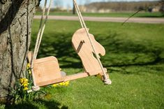 Wooden horse and cart toddler tree swing side view