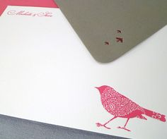 Michelle & Steven - armatodesign.com    Social Stationery detail. Letterpress printing in 2 colors on 100% cotton paper.    Michelle and Steven wanted an invitation to describe their wedding location at the Dallas Arboretum. They wanted something inspired by nature but also wanted something modern and colorful. Michelle saw the bird image on the Armato Design Etsy site and wanted it made into an invitation. #WeddingInvitations #Wedding #WeddingStationery #Letterpress