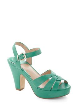 Young and Bold Heel in Turquoise - Blue, Solid, Chunky heel, Cutout, Peep Toe, International Designer