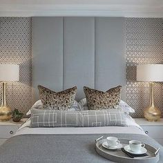 Sophie Paterson Interiors Funky guest bedroom at the Esher project with lots of retro geometric prints in a grey and gold colour scheme Gray Bedroom, Trendy Bedroom, Home Bedroom, Modern Bedroom, Bedroom Decor, Bedroom Inspo, Master Bedrooms, Bedroom Ideas, Bedroom Wallpaper Luxury