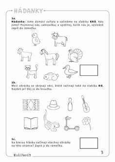 Ukazkove strany KuliFerda ZS sluchove vnimani II Dena, Dyslexia, School Humor, Funny Kids, Worksheets, Activities For Kids, Kindergarten, Homeschool, Writing