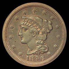 Braided Hair Cents 1846 1C MS
