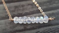 Rainbow Moonstone Necklace Bar Necklace Rose Gold Necklace