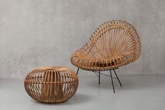1950's Italy. Rattan ottoman available at Dux Vintage Design.