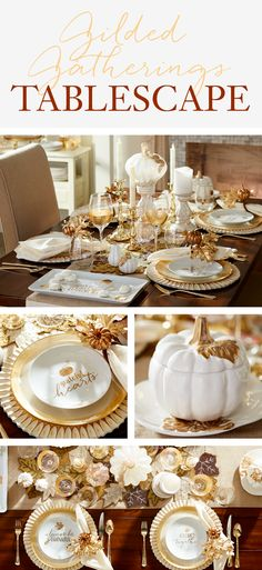 Welcome fall to your table with plenty of pumpkins and golden accents. Pier Gilded Gatherings Tablescape pays tribute to the joy of gathering together family and friends. Scalloped chargers, a beaded table runner and elegant glassware create a picture Fall Table Settings, Thanksgiving Table Settings, Beautiful Table Settings, Thanksgiving Tablescapes, Holiday Tables, Thanksgiving Decorations, Seasonal Decor, Thanksgiving Ideas, Place Settings