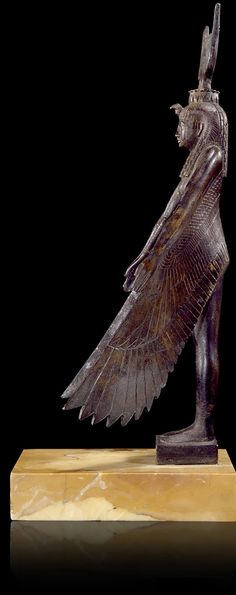 Winged Isis, Late Period, 27th–31st Dynasties, 525–332 BCE, bronze, Acquired 1826, Salt collection, N3961, photograph © Georges Poncet, Musée du Louvre