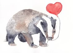 BADGER WITH HEART Original watercolor painting by Mydrops on Etsy