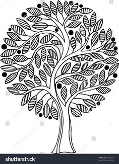 Advanced Coloring Pages - Tree Coloring Page Tree Coloring Page, Colouring Pages, Adult Coloring Pages, Coloring Books, Coloring Sheets, Pattern Coloring Pages, Mandala Coloring Pages, Madhubani Art, Madhubani Painting