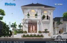 biet-thu-mai-thai Modern Small House Design, Small House Exteriors, Bungalow House Design, Cool House Designs, House Outside Design, Beautiful Villas, Story House, Facade House, Classic House