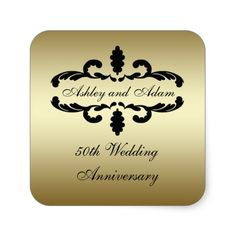 Gold Black 50th Wedding Anniversary Label Square Sticker