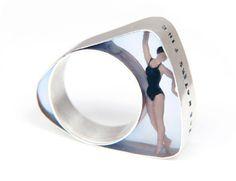 Helen Noakes  Swimmer Ring  Resin, silver, miniature model