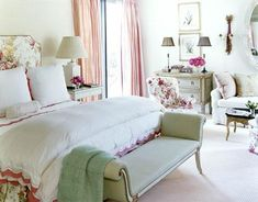 abbecarr: floral bedroom  floral headboard, French bench, vintage gray chest, lamps and pink drapes.