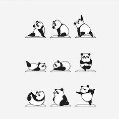 Panda Yoga Cute Sticker by Huebucket - White Background - Panda Wallpapers, Cute Wallpapers, Animal Drawings, Cute Drawings, Panda Illustration, Animal Yoga, Panda Love, Yoga Art, Totoro