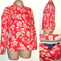 BODEN Floral Print Cotton Button Shirt with Pocket 12 -Coral Red & Ivory #Boden #ButtonDownShirt