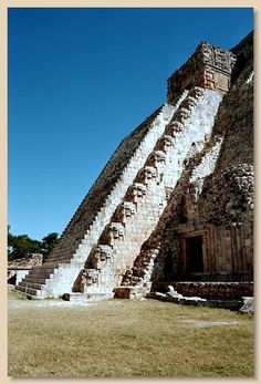 Pyramid of the Magician. Mayan site of Uxmal, Mexico.  700 and 1000 AD.