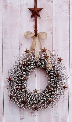 Fall Wreath-Winter Wreath-Christmas Wreath-BURLAP & WHITE Rusty Star Berry Door Wreath-Front Door Wreath-Rustic Home Decor-Primitive Country...