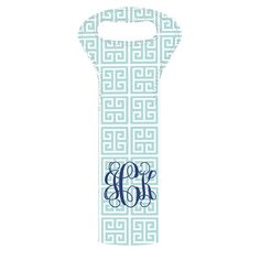 Personalized insulated wine tote with a Greek key motif in seafoam.