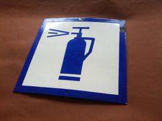 Vintage Enamel Sign Porcelain Fire by vintagegoodstuff on Etsy