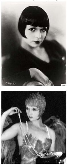 Louise Brooks bob. This is truly the only style that works on my super straight, super thick hair.