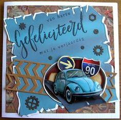 Jacqueline : Gefeliciteerd Voor deze kaart heb ik de volgende... Birthday Cards, Happy Birthday, 3d Cards, Marianne Design, Card Tutorials, Masculine Cards, Volkswagen, Memories, Make It Yourself