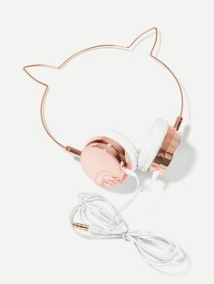 Shop Cat Ear Shaped On-Ear Headphone online. SheIn offers Cat Ear Shaped On-Ear Headphone & more to fit your fashionable needs. Girly Things, Cool Things To Buy, Stuff To Buy, Cute Headphones, Fashion Headphones, Accesorios Casual, Accessoires Iphone, Cute Jewelry, Types Of Metal