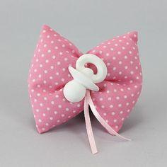 Cuscino in cotone rosa a pois bianchi con gesso profumato ciuccio