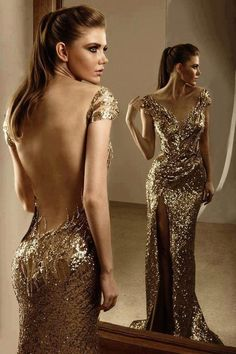 Golden glitz....this is purely a dream Sexy Dresses, Nice Dresses, Prom Dresses, Formal Dresses, Formal Prom, Dress Prom, Backless Dresses, Beaded Dresses, Party Dress