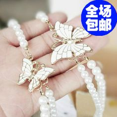 Min.order is $10 Free Shipping & accessories charming  white butterfly design pearl necklace double layer pearl  necklace $1.68