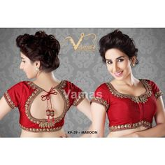 Intricate gold zari saree blouse  - Kp 39r - red. Muhenera presents vamas designer collection