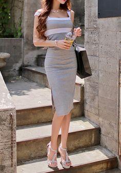 Grey-White Color Block Side Slits Sleeveless Dress