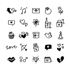 Collection of illustrated valentine's icons Stock Photo , Easy Doodles Drawings, Simple Doodles, Valentines Day Background, Valentine Day Love, Summer Typography, Cute Small Drawings, Heart Hands Drawing, Doodle Art Journals, Bullet Journal Writing